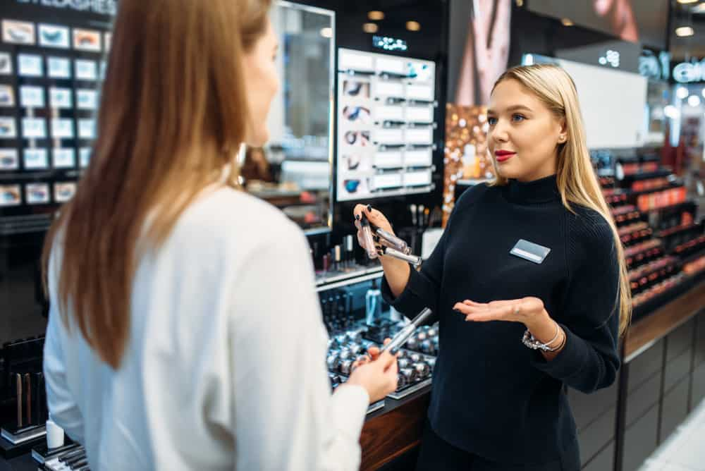 woman shopping for cosmetics