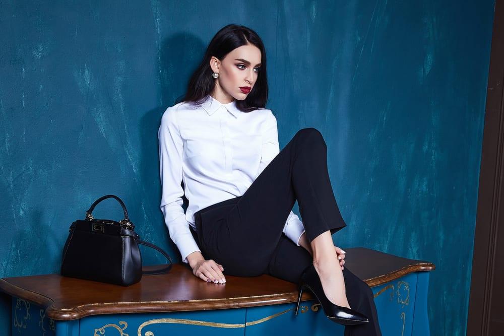 woman wearing formal office wear