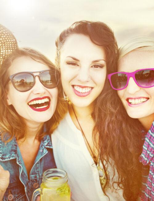 women celebrating spring outdoors