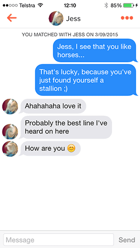 a screenshot of a Tinder conversation with a unique opener
