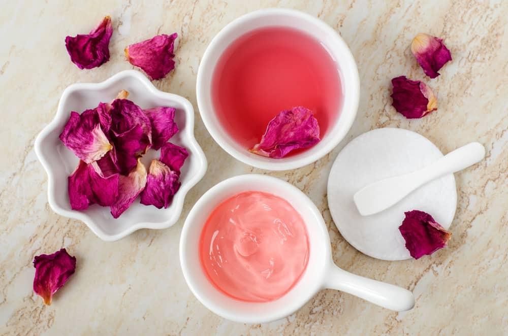 rose water toner in bowls