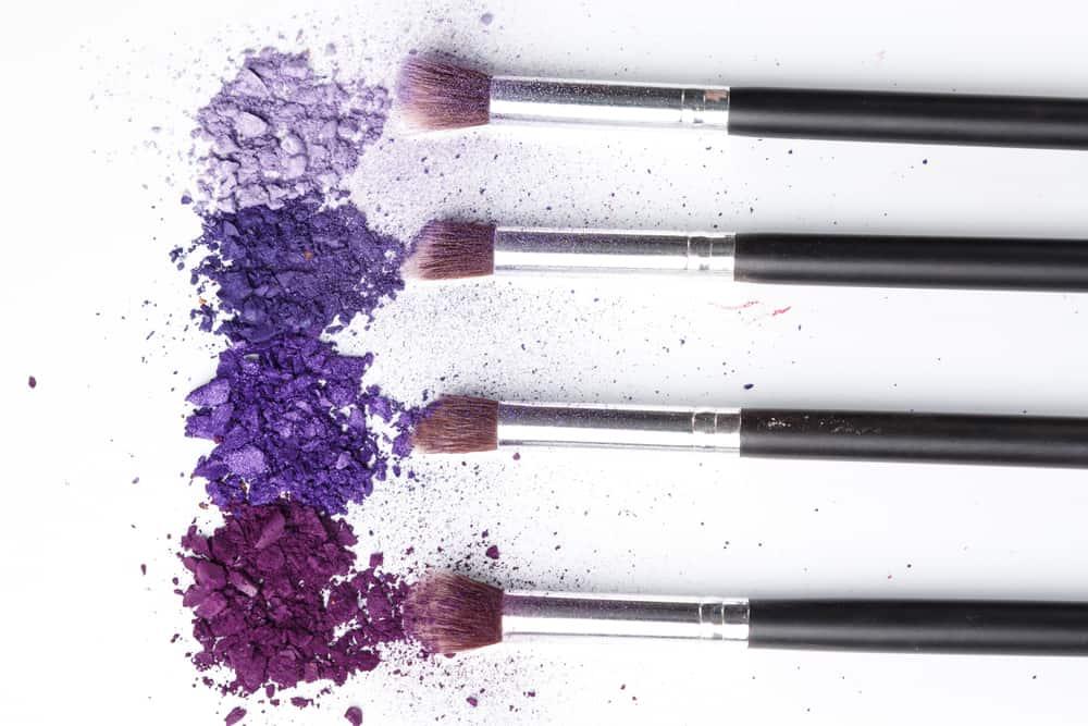 crushed eyeshadow and brushes