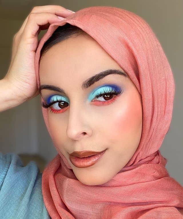 Woman in hijab with colorful eyeshadow