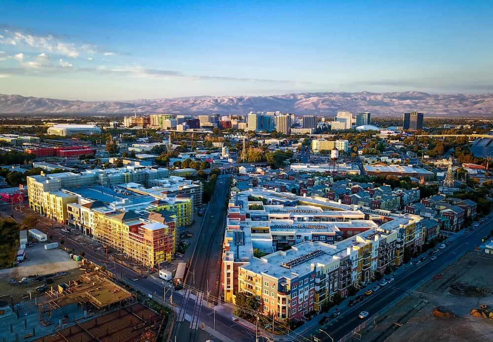aerial drone shot of San Jose at sunset